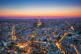 Paris  France at Sunset Aerial View on the Eiffel Tower  Arc De Triomphe  Les Invalides Etc