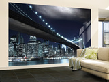 Brooklyn Bridge by Night Wallpaper Mural