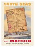 South Seas - Sail Matson - Steamships SS Mariposa and SS Monterey