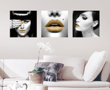 Golden Lips Wall Decal