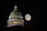 Capitol Building Dome Detail an Full Moon at Night  Washington DC - United States