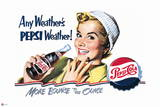 Pepsi - Vintage Pepsi Girl; Any Weather 1950 Ad