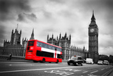 London  the Uk Red Bus in Motion and Big Ben  the Palace of Westminster the Icons of England