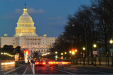 Washington Dc  United States Capitol Building Night View from from Pennsylvania Avenue with Car Lig