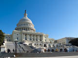 Side View of the Capitol Building in Washington DC