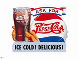 Pepsi - Ice Cold  Delicious Vintage Cutout Sign