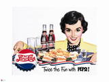 Pepsi - Vintage Pepsi Girl; Twice the Fun 1950 Ad