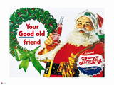Pepsi - Your Good Old Friend  Santa Christmas with Pepsi  Vintage 1950s Sign