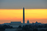 Washington DC City View in Sunrise  including Lincoln Memorial  Monument and Capitol Building