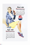 Pepsi - Vintage Pepsi Girl; 1950 Calendar: March and April