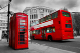 London  the Uk Red Phone Booth and Red Bus in Motion English Icons