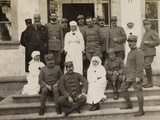 WWI: Group Portrait with Officers and Red Cross Nurses During the Visit of the Knights