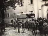 Small Truck with Wounded People at the Entrance of the Hospital of Gorizia