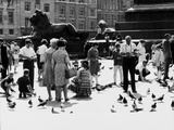 Tourists in Trafalgar Square to Feed the Pigeons  London