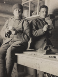 World War I: Portrait of a Lieutenant and a Second Lieutenant Italian During a Coffee Break