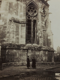 Harriet and Anita Self Photographed in Front of the Cathedral of Reims Damaged During Bombing