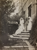 Pictures of War II: Red Cross Nurses and Soldier in the Garden of a House in Vicenza