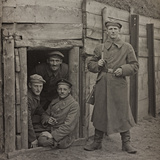 First World War: A Group of Belgian Soldiers in a Bunker