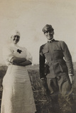 War Campaign 1917-1920: Asiago Plateau in June 1918  Portrait of a Soldier and a Red Cross Nurse