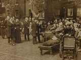World War I: The British King George V (1865-1936) and Queen Mary of Teck Visit a Military Hospital
