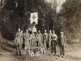 WWI: Group Portrait in the Christmas Period at Villa Brazzà  Home to 17 of the Hospital of War