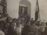 A Group of Women with Children Photographed in the Courtyard of a Convent