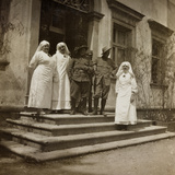 WWI: Red Cross Nurses and Soldiers in Front of Villa Brazzà  Home to 17 of the Hospital of War