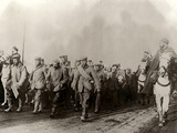 The Image Shows a Group of German Prisoners  in the Flanders  Escorted by Algerian Light Cavalrymen