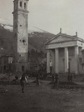 Square in the Old Town of Valdobbiadene with the Bell Tower Damaged by Bombing in World War I