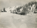 World War I: Group of Soldiers in a Snow-Covered Mountain Path