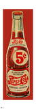 Vintage 1940s 5¢ Pepsi Bottle Cutout (Red Background)