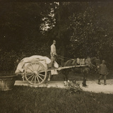 WWI: Soldiers with a Cart in the Park of Villa Brazzà  Home to 17 of the Hospital of War