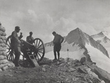 First World War: A Group of Alpine Soldiers with a Cannon in a High Mountain Area