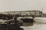 War Campaign 1917-1920: Group of Soldiers Await the Arrival of a Vessel in the Harbor