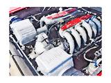 Ferrari 512 TR Testarossa Engine Watercolor