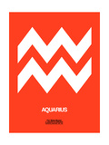 Aquarius Zodiac Sign White on Orange