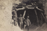 Free State of Verhovac-July 1916: Portrait of Three Italian Officers at the Entrance of a Quarry
