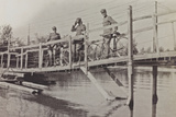 Campagna Di Guerra 1915-1916-1917-1918: Soldiers with Bicycles on a Wooden Bridge  Bay of Panzano