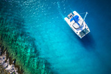 Amazing View to Yacht Sailing in Open Sea at Windy Day Drone View - Birds Eye Angle
