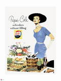 Pepsi - Vintage Pepsi Girl; Refresh without Filling 1950s Ad