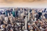 Aerial View of Manhattan Skyline at Sunset  New York City