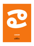 Cancer Zodiac Sign White on Orange