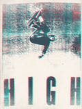 Skateboarding HIGH in 3D (red and blue)