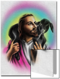 Airbrush Style Jesus-Looking Fella with a Little Black Lamb