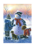 Chubby Snowman Boy and Girl Reproduction d'art par Vickie Wade