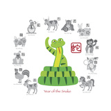 Chinese New Year Snake Color with Twelve Zodiacs Illustration