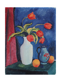 Red Tulips in White Vase  1912