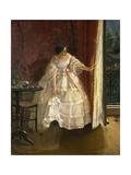 Lady at the Window  Feeding Birds  1850