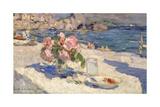 Blumenstrauss Und Fruechteteller Am Meeresstrand  1910