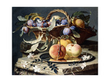 Peaches and Plums in a Wicker Basket  Peaches on a Silver Dish and Narcissi on Stone Plinths